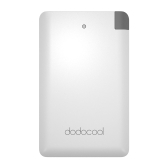 dodocool MFi Certified Ultra Thin 2500mAh Portable Charger Backup External Battery Pack Power Bank with Built-in Micro USB Cable and Lightning Adapter for Smartphones White