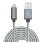dodocool MFi Certified 10ft / 3m Braided Lightning to USB Charge and Sync Cable for iPhone 7 Plus / 7 / SE / 6s Plus / 6s / 6 Plus / 6 / 5 / 5s / 5c / iPad Air 1/2 / iPad Pro / iPad mini 1/2/3/4 / iPod touch 5th gen / nano 7th gen Space Gray