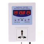 AC110-240V 10A LED Digital Intelligent Pre-wired Temperature Controller Outlet with Sensor Thermostat Heating Cooling Control Switch