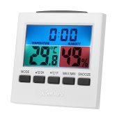 KKmoon LCD Digital Indoor Thermometer Hygrometer Temperature Humidity Meter Clock with Backlight Snooze Alarm Clock Measurement ℃/℉ Max Min Value Display