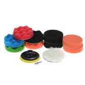 "11PCS Brand New 3"" 80mm/4"" 100mm/5"" 125mm/6"" 150mm/7"" 180mm Car Polishing Pads Waxing Buffing Pad Sponge Kit Set for Car Polisher   Buffer Waxer Sander Polishing Waxing Sealing Glaze Including 9 Polishing Pads + 1 Woolen Buffer + 1 Adhesive Backer Pad with Shank"