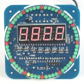 Compact 4-digit DIY DS1302 Digital Rotation LED Electronic Clock Kit Learning Board Temperature Date Time Display