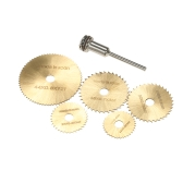 "6pcs HSS Circular Saw Blades Rotary Cutting Tools Kit Set with 1/8"" Shank for Cutting Timber and Plastic"