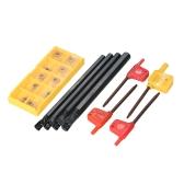 10pcs/box CCMT060204-HM Carbide Inserts + 6/7/8/10mm SCLCR06 Holder Boring Bar + 4pcs Wrench CNC Lathe Turning Tool