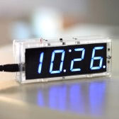 Compact 4-digit Digital LED Talking Clock DIY Kit Light Control Temperature Date Time Display Transparent Case