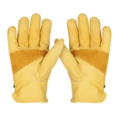 Leather Work Gloves with Adjustable Wrist Closure for DIY Yardwork Construction Motorcycle Men