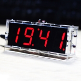 Compact 4-digit DIY Digital LED Clock Kit Light Control Temperature Date Time Display with Transparent Case