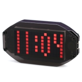 DIY Black Digital LED Mirror Clock Matrix Desktop Alarm Clock Electronic Learning Kit Module with 12H/24H Function ℃/℉ Temperature Display Indoor Thermometer Adjustable LED Luminance Holiday and Birthday Remind Function