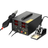 KKmoon 800W 4 in 1 Digital SMD Rework Soldering Station DC Power Supply Welder Hot Air Gun Soldering Iron Stand Desolder Set BGA Nozzles USB Charging Phone Repair 909D+ 110-120V