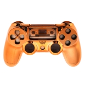 Metal-plated Full Housing Controller Shell  Gamepad Shell Cover Case with Matching Buttons Orange for  PS4