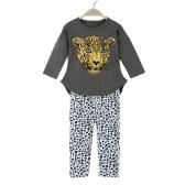 New Fashion Girls Clothing Sets T-shirt Leggings Leopard Head Print Round Neck Long Sleeve Cute Suit