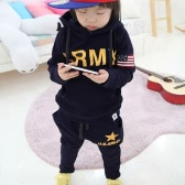Cute Children Boy Suit Letter Five Star Print Hoodies Kids Sports Sets