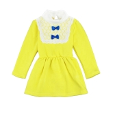 Cute Turtleneck Lace Bow Knot Keyhole Button Princess Dress for Girl