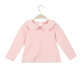 Sweet Peter Pan Collar Keyhole Button Back Long Sleeve Blouse for Baby Girl