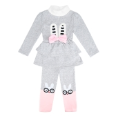 Cute Baby Girls Two-Piece Set Bow Cartoon Pattern Long Sleeve Sweatshirt Elastic Waist Trousers Fleece Warm Outfits Red/Grey