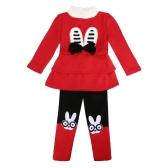 Cute Baby Girls Two-Piece Set Bow Cartoon Pattern Long Sleeve Sweatshirt Elastic Waist Trousers Fleece Warm Outfits Red/Grey