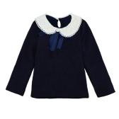 Sweet Cute Kids T-Shirt Peter Pan Collar Long Sleeve Keyhole Children Girls