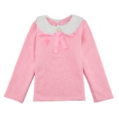 Sweet Cute Kids T-Shirt Peter Pan Collar Long Sleeve Keyhole Children Girls