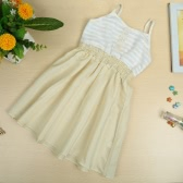 New Baby Girls Kids Slip Dress Cotton Sleeveless Spaghetti Strap Elastic Waist Stripe Cute Casual Children Dress White