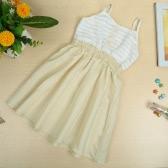 New Baby Girls Kids Slip Dress Cotton Sleeveless Spaghetti Strap Elastic Waist Stripe Cute Casual Children Dress White