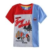 New Fashion Kids Boys T-Shirt Cars Print Contrast Color Round Neck Short Sleeve Children Tops Blue