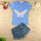Fashion Baby Kids Girls Two-Piece Set Butterfly Embroidered Short Sleeve T-Shirt Denim Shorts Jeans Trousers Outfits Light Blue
