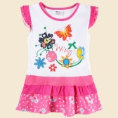 New Cute Baby Kids Girl Dress Floral Embroidery Print Dot Splice Butterfly Short Sleeve Summer Children Dress White
