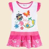 New Cute Baby Kids Girl Dress Floral Embroidery Print Dot Splice Butterfly Short Sleeve Summer Children Dress White