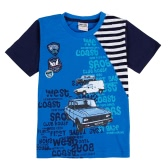 New Kids Baby Boy T-Shirt Car Letter Pattern Print Round Neck Short Sleeve Contrast Stripe Toddler Children Tops Blue