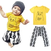 Boys Kids Two-Piece Set T-Shirt Top Trousers Print O Neck Elastic Waist Children Casual Suit Yellow