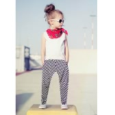 Fashion Kids Baby Girls Two-Piece Set Vest Sleeveless T-Shirt Plaid Print Elastic Waist Trousers Outfits White