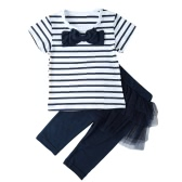 Girls Kids Two-Piece Set Contrast Stripe Bow O-Neck Top T-Shirt Tutu Skirt Leggings Culottes Suit Outfit Sets
