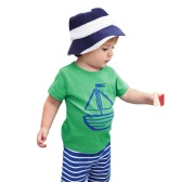 New Fashion Boys Two-Piece Set T-shirt Shorts Contrast Pattern Striped Print Drawstring Waistband Casual Clothing Sets