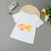 Girls Kids Short T-Shirt Fish Print O Neck Children Soft Casual Top Cute Tee White/Pink