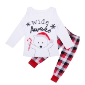 Christmas Family Kids Boy Girls Pajamas Sets Bear Letter Printed Long Sleeve Top Plaid Trousers Sleepwear Nightwear White