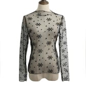 New Sexy Women Sheer Mesh Bodycon Top Thin Lace Long Sleeves Pullover Elegant Blouse Black