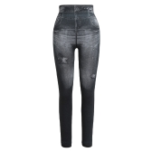 Women Leggings Faux Denim Jeans Printed Skinny Trousers Casual Tights Stretch Slim Pencil Pants