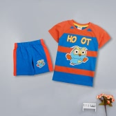 New Children Boys Cotton Two-Piece Set Cute Owl Striped O Neck Short Sleeve T-Shirt Shorts Outfits Suit Blue