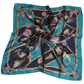 New Women Kerchief Square Scarf Contrast Print Elegant Thin Shawl Stain Scarves