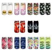 5 Pairs Girls Womens Cool Fun Crazy Cute Fashion Design Colorful Casual Crew Socks Sweet Low Cut Ankle Unisex 3D Pattern Creative Novelty