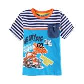New Boys Kids T-Shirt Top Cotton Cartoon Letter Print Striped Color Splice O Neck Short Sleeve Casual Children Blue