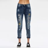 New Fashion Women Denim Jeans Ripped Hole Pocket High Waist Patch Straight Pants Trousers Blue