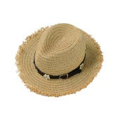 New Fashion Women Straw Hat Daisy Rivet Belt Wide Brim Summer Sun Beach Cap Panama Hat Black/Khaki