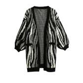 Women Knitted Cardigan Contrast Striped Pockets Side Splits Batwing Sleeves Long Outwear Coat Knitwear Black