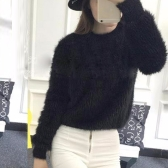 Fashion Women Knitted Sweater Solid O-Neck Long Sleeve Casual Warm Winter Jumper Pullover Knitwear