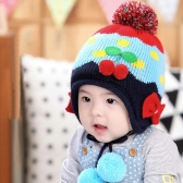 Baby Kids Knitted Hat Cute Cherry Bowknot Fleece Earflap Hat Children Pompom Cap