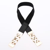 Stylish PU Splice Clip Clasp Front Elastic Waistband Skinny Belt for Women