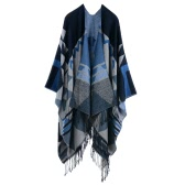 Women Knitted Shawl Poncho Faux Cashmere Geometric Pattern Tassel Oversized Long Bohemia Cape