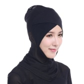 New Fashion Women Lace Muslim Hijab Solid Stretch Net Cross Modal Trim Islamic Turban Head Cover