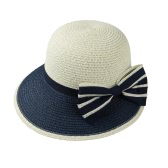 New Fashion Women Bow Straw Hat Contrast Color Wide Brim Summer Beach Sun Cap Floppy Trilby Hat Khaki/Coffee/Dark Blue